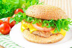 Traditional american homemade cheeseburger Royalty Free Stock Photo