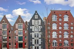 Traditional Amsterdam houses in Netherlands. Traditional Amsterdam houses in the Netherlands Royalty Free Stock Photography