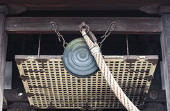 Traditional ancient bronze bell in Japanese shine Stock Images