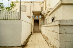 Traditional ancient building in Beer-Sheba Israel. Old south city in middle east. Outdoor scenic landscape street view Stock Photos