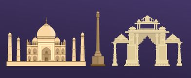 Traditional ancient building of Taj Mahal in India, Indian Gate in Delhi. Architectural monument, landmark, famous world landmark, an ancient palace, an object vector illustration
