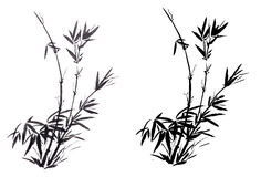 The traditional ancient Chinese hand painted bamboo royalty free stock photography
