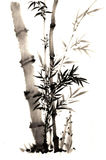 The traditional ancient Chinese hand painted bamboo stock photo