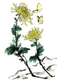 The traditional ancient Chinese hand painted chrysanthemum. Chinese traditional distinguished gorgeous decorative hand-chrysanthemum,Symbol;hermit,Feel at stock illustration