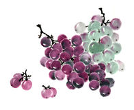 The traditional ancient Chinese hand - painted Fruit, grapes. Chinese traditional distinguished gorgeous decorative hand-painted ink-Fruit, grapes,Symbol stock illustration