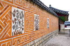 Traditional Ancient decor Brick wall pattern and background, Kor Royalty Free Stock Photo