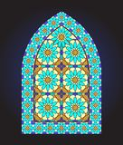 Ancient stained glass ornamental window stock illustration