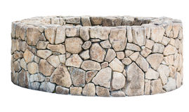 Traditional Ancient stone well isolated on white. Royalty Free Stock Photography