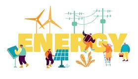 Free Traditional And Innovation Energy Development Concept. People Use Electric Poles, Solar Panels And Windmills Royalty Free Stock Image - 164210576