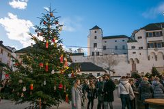 Traditional And Romantic Advent Market In The Castle Courtyard And Big Christmas Market In Salzburg Royalty Free Stock Images