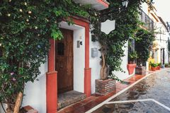 Traditional Andalusian architecture of Marbella town, Spain Stock Photo