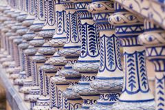 Traditional andalusian ceramic decoration, azulejo. Seville in Spain, traditional ceramic decoration royalty free stock image