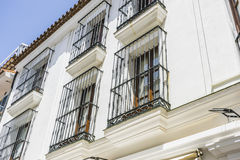 Traditional Andalusian streets with flowers and white houses in. Marbella, Andalucia Spain Stock Photography