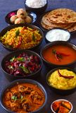 Traditional andhra vantilu or lunch. Traditional curries and rice in Andhra vegetarian thaali meals buffet.Traditional recipes consisting of muddu pappu or dal stock photo