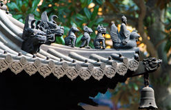 Traditional animal figures on the roof of chinese temple Royalty Free Stock Photography