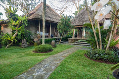 Traditional and antique Balinese style Villa design. Beautiful traditional and antique villa property located in remote village on Ubud, Bali - Indonesia in the Stock Photography
