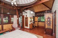 Traditional and Antique Bedroom villa in Bali Stock Photo