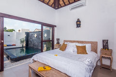 Traditional and Antique Bedroom villa in Bali Royalty Free Stock Image