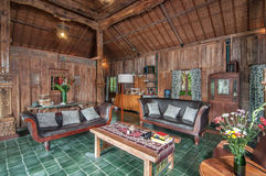 Traditional and Antique Javanese Style living room villa in Bali stock images