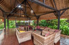 Traditional and Antique Javanese Style living room villa in Bali Royalty Free Stock Images