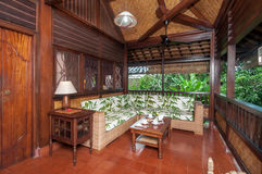 Traditional and Antique Living room of  Bali villa Royalty Free Stock Photo