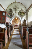 Traditional antique norwegian interior stone church. Luster. Tra Royalty Free Stock Images