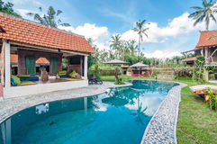Traditional and antique Villa design and outdoor pool Stock Photos