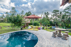 Traditional and antique Villa design and outdoor pool Stock Photography