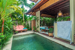 Traditional and antique Villa design and outdoor pool Stock Photo