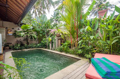 Traditional and antique Villa design and outdoor pool Royalty Free Stock Photography
