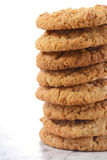 Traditional ANZAC Biscuits on White Background Stock Images
