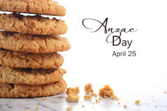Traditional ANZAC Biscuits on White Background Royalty Free Stock Photos