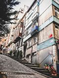 Traditional apartment buildings in Tophane district of Beyoglu, Istanbul royalty free stock photo