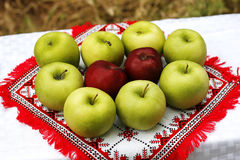 Traditional apples setting. Apples organized on a table in a traditional fashion. Illustration of rural life stock images