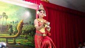 Traditional Apsara dancer in local restaurant in Siem Reap city, Cambodia stock video