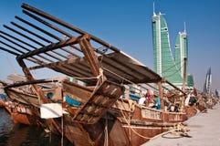 Traditional Arab Dhows. Traditonal Arab Dhows moored at Manama, Bahrain Royalty Free Stock Images