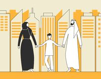 Traditional Arab family, Muslim man, woman and child walking on the background of city skyscrapers. Flat vector illustration royalty free illustration