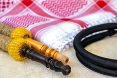Traditional Arab Male Clothes - kaffiyah, igal, and hookah craft wooden accessoriesp