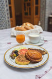 The traditional arabian breakfast mixed with western food Royalty Free Stock Image