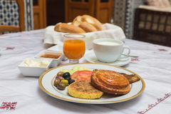 The traditional arabian breakfast mixed with western food Stock Images