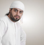 Traditional arabian businessman thinking Stock Image