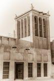 Traditional arabian cooling tower. Sepia image of a traditional wind cooling tower, or wind catcher, at Shaikh Isa bin Ali house in Muharraq, Bahrain Stock Images