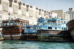 Traditional arabian dhow boats in deira harbour of dubai UAE Royalty Free Stock Photography