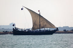 Traditional arabian dhow in Doha. Traditional arabian sail dhow in Doha, Qatar, Middle East Stock Photos