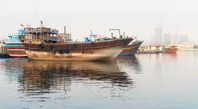 Traditional arabian dhows wooden boat Royalty Free Stock Photos