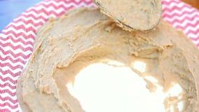 Traditional Arabian dish hummus. Street food stock video