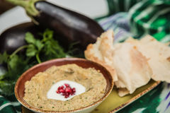 Traditional arabian eggplant dip baba ganoush Royalty Free Stock Photos