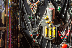 Traditional arabian silver jewelery shop Royalty Free Stock Photos