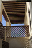 Traditional Arabic balcony roof. Traditional antique Arabic style balcony with a thatched roof Royalty Free Stock Images