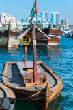 Traditional arabic boat at Dubai creek, UAE. UAE, DUBAI - DECEMBER 27: traditional arabic boat at Dubai Creek on December 27, 2014 Stock Images